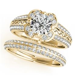 1.21 CTW Certified VS/SI Diamond 2Pc Wedding Set Solitaire Halo 14K Yellow Gold - REF-162T2X - 31237