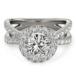 1.51 CTW Certified VS/SI Diamond Solitaire Halo Ring 18K White Gold - REF-176T5X - 26763