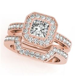 1.05 CTW Certified VS/SI Cushion Diamond 2Pc Set Solitaire Halo 14K Rose Gold - REF-176W2H - 31380