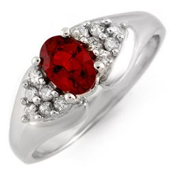 0.90 CTW Red Sapphire & Diamond Ring 18K White Gold - REF-50Y5N - 10882