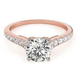 0.92 CTW Certified VS/SI Diamond Solitaire Ring 18K Rose Gold - REF-126T2X - 27496
