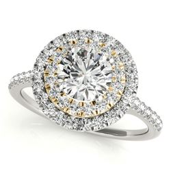 1 CTW Certified VS/SI Diamond Solitaire Halo Ring 18K White & Yellow Gold - REF-144T5X - 26219