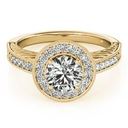 1.5 CTW Certified VS/SI Diamond Solitaire Halo Ring 18K Yellow Gold - REF-485R6K - 26526