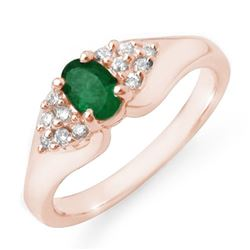 0.63 CTW Emerald & Diamond Ring 14K Rose Gold - REF-38T2X - 12537