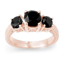 2.50 CTW Vs Certified Black Diamond 3 Stone Ring 14K Rose Gold - REF-67W6H - 13797