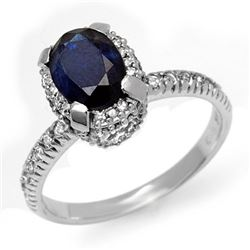 2.20 CTW Blue Sapphire & Diamond Ring 14K White Gold - REF-54W5H - 13474