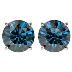 4 CTW Certified Intense Blue SI Diamond Solitaire Stud Earrings 10K White Gold - REF-824M2F - 33137