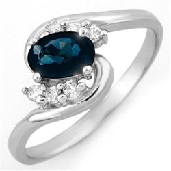 0.70 CTW Blue Sapphire & Diamond Ring 18K White Gold - REF-31M8F - 10595