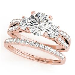 1.71 CTW Certified VS/SI Diamond 3 Stone 2Pc Set Wedding 14K Rose Gold - REF-398X9T - 32043