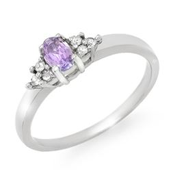 0.31 CTW Tanzanite & Diamond Ring 18K White Gold - REF-34T4X - 13367