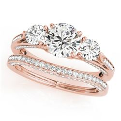 2.05 CTW Certified VS/SI Diamond 3 Stone 2Pc Wedding Set 14K Rose Gold - REF-447H3W - 32022