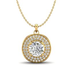 1.25 CTW VS/SI Diamond Solitaire Art Deco Necklace 18K Yellow Gold - REF-272M8F - 37261
