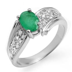 1.43 CTW Emerald & Diamond Ring 14K White Gold - REF-65X5T - 13380