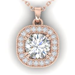 1.02 CTW Certified VS/SI Diamond Stud Micro Halo Necklace 14K Rose Gold - REF-173W6H - 30436