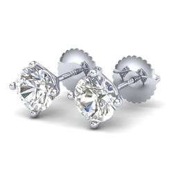1.5 CTW VS/SI Diamond Solitaire Art Deco Stud Earrings 18K White Gold - REF-309F3M - 37301