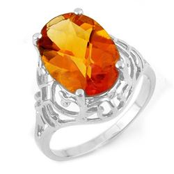 6.50 CTW Citrine Ring 14K White Gold - REF-27K5R - 11158