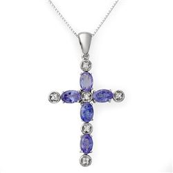 3.15 CTW Tanzanite & Diamond Necklace 18K White Gold - REF-58T2X - 10720