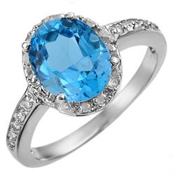 2.65 CTW Blue Topaz & Diamond Ring 14K White Gold - REF-30H2W - 10416