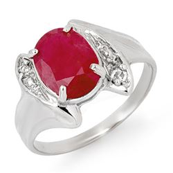 3.12 CTW Ruby & Diamond Ring 14K White Gold - REF-40M2F - 14057