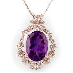 12.8 CTW Amethyst & Diamond Necklace 14K Rose Gold - REF-103F3M - 10042