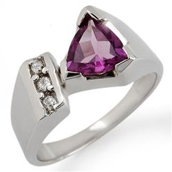 1.0 CTW Amethyst & Diamond Ring 10K White Gold - REF-32F2M - 10691