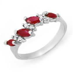 0.61 CTW Ruby & Diamond Ring 18K White Gold - REF-35K3R - 12448