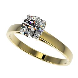 0.97 CTW Certified H-SI/I Quality Diamond Solitaire Engagement Ring 10K Yellow Gold - REF-140R2K - 3