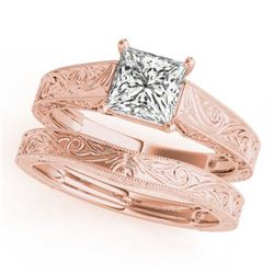 1 CTW Certified VS/SI Princess Diamond 2Pc Set Solitaire Wedding 14K Rose Gold - REF-347N5Y - 32085
