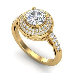 1.7 CTW VS/SI Diamond Solitaire Art Deco Ring 18K Yellow Gold - REF-436N4Y - 37255