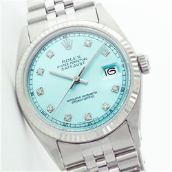 Rolex Men's Stainless Steel, QuickSet, Diamond Dial with Fluted Bezel - REF-387A3N