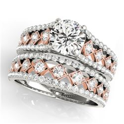 1.56 CTW Certified VS/SI Diamond Solitaire 2Pc Set 14K White & Rose Gold - REF-186M2F - 31922