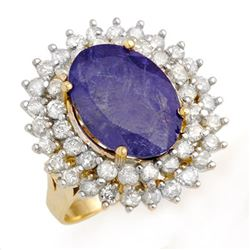 8.78 CTW Tanzanite & Diamond Ring 14K Yellow Gold - REF-375T6X - 13386