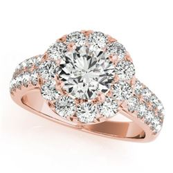 1.52 CTW Certified VS/SI Diamond Solitaire Halo Ring 18K Rose Gold - REF-179M3F - 26435