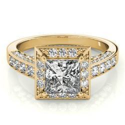 2.1 CTW Certified VS/SI Princess Diamond Solitaire Halo Ring 18K Yellow Gold - REF-309R6K - 27173