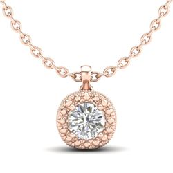 1.1 CTW VS/SI Diamond Solitaire Art Deco Stud Necklace 18K Rose Gold - REF-218R2K - 37122