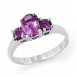 0.85 CTW Amethyst Ring 18K White Gold - REF-29X8T - 13200