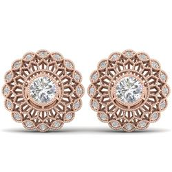 1.5 CTW Certified VS/SI Diamond Art Deco Stud Earrings 14K Rose Gold - REF-204K2R - 30556