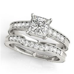 1.18 CTW Certified VS/SI Princess Diamond Solitaire 2Pc Set Antique 14K White Gold - REF-240F5M - 31