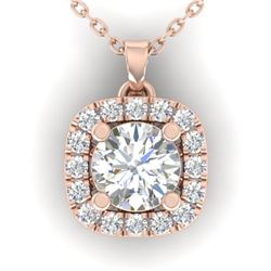 1.01 CTW Certified VS/SI Diamond Stud Halo Necklace 14K Rose Gold - REF-169T3X - 30424