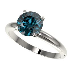 2 CTW Certified Intense Blue SI Diamond Solitaire Engagement Ring 10K White Gold - REF-417M6F - 3293