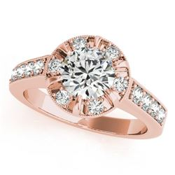 2 2 CTW Certified VS/SI Diamond Solitaire Halo Ring 18K Rose Gold - REF-471H5W - 27040