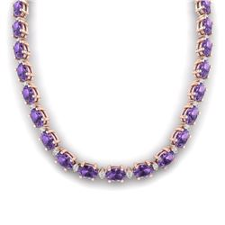 46.5 CTW Amethyst & VS/SI Certified Diamond Eternity Necklace 10K Rose Gold - REF-226F2M - 29414
