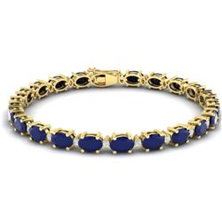 23.5 CTW Sapphire & VS/SI Certified Diamond Eternity Bracelet 10K Yellow Gold - REF-143T6X - 29378