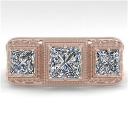 2 CTW Past Present Future VS/SI Princess Diamond Ring 18K Rose Gold - REF-481R6K - 36068