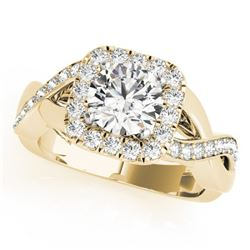 1.4 CTW Certified VS/SI Diamond Solitaire Halo Ring 18K Yellow Gold - REF-235N3Y - 26190