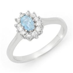 0.45 CTW Aquamarine & Diamond Ring 14K White Gold - REF-30K4R - 14531