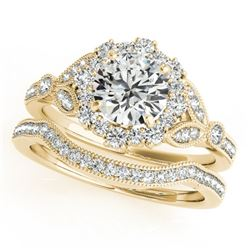 1.69 CTW Certified VS/SI Diamond 2Pc Wedding Set Solitaire Halo 14K Yellow Gold - REF-400W2H - 30968