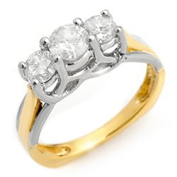 1.35 CTW Certified VS/SI Diamond Ring 14K 2-Tone Gold - REF-162F4M - 10151