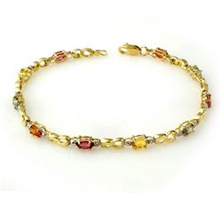 2.51 CTW Multi-Sapphire & Diamond Bracelet 10K Yellow Gold - REF-32M2F - 13845