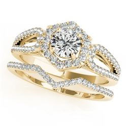 1.07 CTW Certified VS/SI Diamond 2Pc Wedding Set Solitaire Halo 14K Yellow Gold - REF-142K2R - 31150